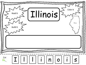 Illinois Read it, Build it, Color it Learn the States preschool worksheet.