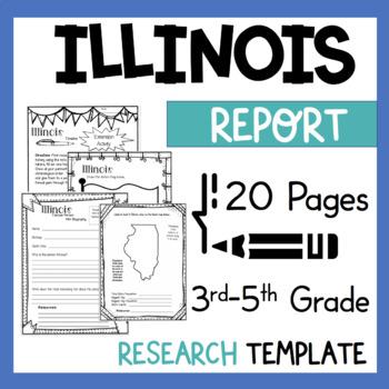 Illinois State Research Report Project Template bonus timeline Craftivity IL