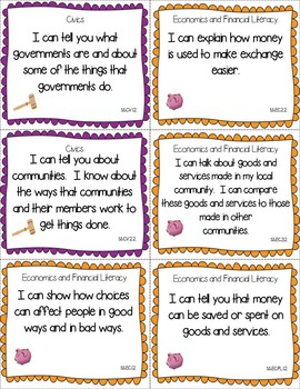 Illinois Social Studies Standards - Second Grade Posters and Statement Cards