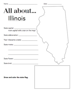 Illinois State Facts Worksheet: Elementary Version