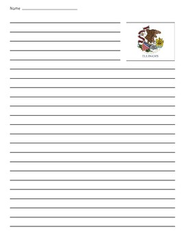 Illinois State Flag Lined Paper