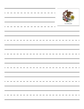 Illinois State Flag Primary Lined Paper