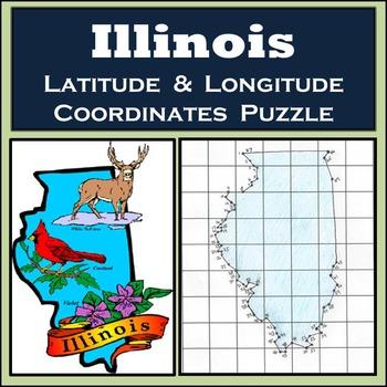 Illinois State Latitude and Longitude Coordinates Puzzle - 67 Points to Plot