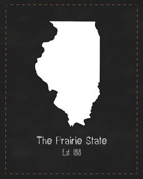 Illinois State Map Class Decor, Government, Geography, Black and White Design