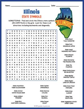 Illinois State Symbols Word Search Puzzle