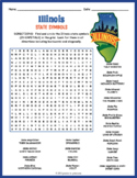 ILLINOIS State Symbols Word Search Puzzle Worksheet Activity