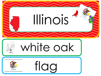 Illinois State Word Wall Bulletin Board Set. Geography Cur