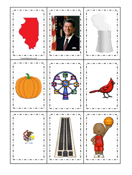 Illinois themed Memory Matching and Word Matching preschoo