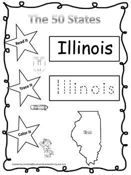 Illinois Read it, Trace it, Color it Learn the States preschool worksheet.