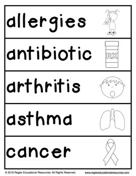 Illness and Disease Word Wall Cards and Word List FREEBIE!