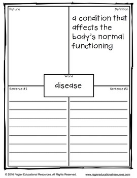 Illness and Disease Words: Tiered Vocabulary Booklets