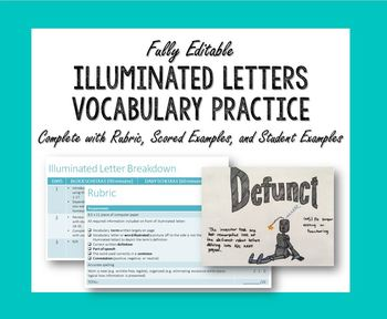 Illuminated Letter Vocabulary Practice with Rubric