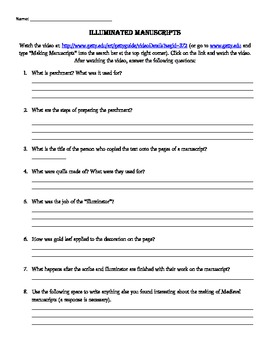 Illuminated Manuscript Response Worksheet