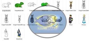 Illumismart Imagines: Dragon Trainers (Creative BW/Color Clip-Art Set)