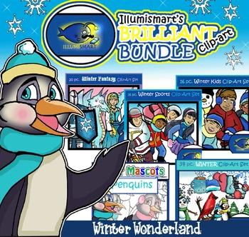 Illumismart's BRILLIANT Winter Wonderland Bundle! 112 Clip-art Pieces! BW/Color