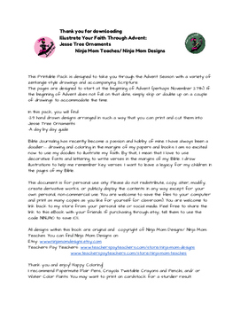 Illustrate Your Faith- A Color Through Advent- Jesse Tree Ornaments- No Prep