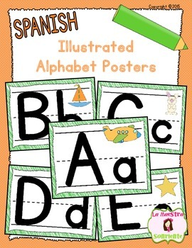 Alphabet Bulletin Board Posters with Illustrations (Spanish)