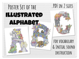 Illustrated Alphabet Poster Set with Vocabulary and Initia