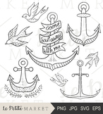 Illustrated Anchor Clip Art, Nautical Clip Art, Vector Clip Art, Bird Clipart
