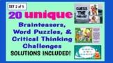 Illustrated Brainteaser PPT Bundle (Set 2 of 5) - 20 uniqu