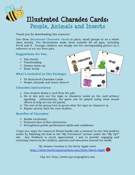 Charades Cards for All Ages: People, Animals and Insects - Pictures Included