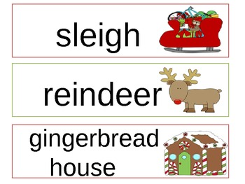 Illustrated Christmas Word Wall Words (Follow me!)