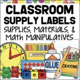 Classroom Supply Labels for Materials, Supplies & Math Manipulatives POLKA DOTS