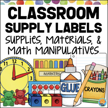 Classroom Supply Labels for Materials, Supplies & Math Manipulatives POLKA DOTS
