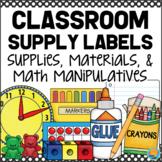 Classroom Supply Labels - Materials & Math Manipulatives BLACK & WHITE POLKA DOT