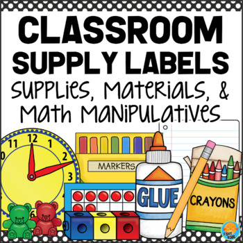 Classroom Supply Labels - Materials & Math Manipulatives BLACK & WHITE POLKA DOT