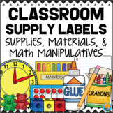 Classroom Supply Labels for Materials & Math Manipulatives BLACK & WHITE CHEVRON