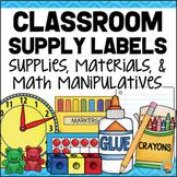 Classroom Supply Labels for Materials, Supplies & Math Manipulatives BLUE PLAID