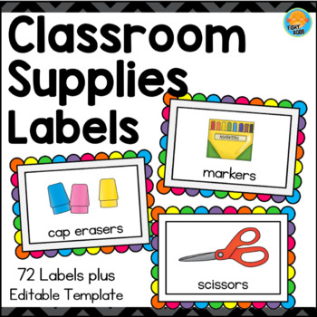 Labels for Classroom Supplies - Brights On Black