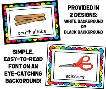 Classroom Supplies Labels - Brights On Black or White