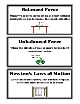 Illustrated Force and Motion Vocabulary Cards