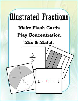 Illustrated Fractions (Concentration/Flash Cards/Mix and Match)