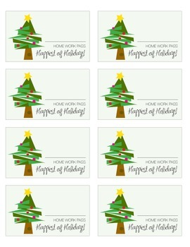 Illustrated Holiday Homework Pass