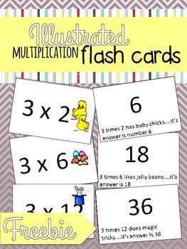 Illustrated Multiplication Flash Cards Freebie