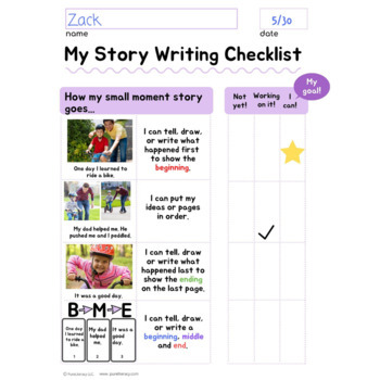 Kindergarten Illustrated Narrative Writing Checklists