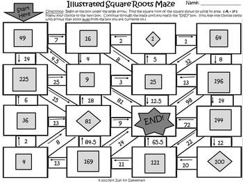 Illustrated Square Roots: Measurement Maze Activity