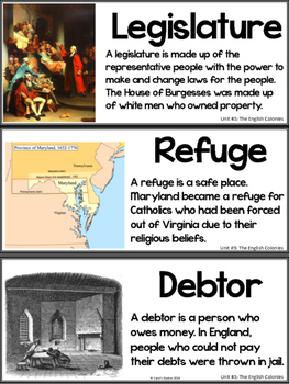 Illustrated Vocabulary Cards for American History: Early English Colonies