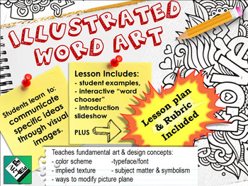 Illustrated Word Art: Middle School High School Art Project, lesson & rubric.