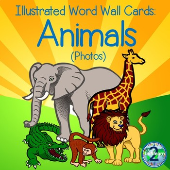 Illustrated Word Wall Cards: Animals (Photos)