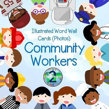 Illustrated Word Wall Cards: Community Workers (Photos)