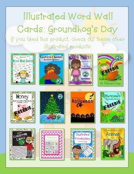 Illustrated Word Wall Cards FREEBIES: Groundhog's Day