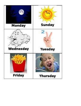 Illustrated days of the week calendar cards