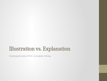 Illustration vs Explanation - Clarifying the Terms in P.I.E. in Academic Writing
