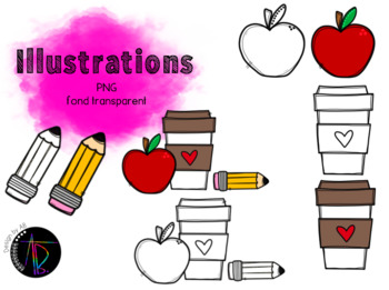 Illustrations - Pomme café crayon