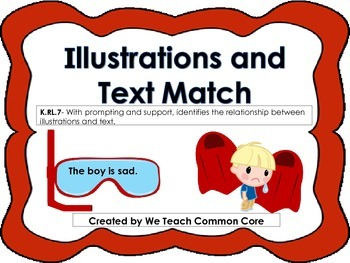 Illustrations to Text Matching Activity Daily 5 Literacy S