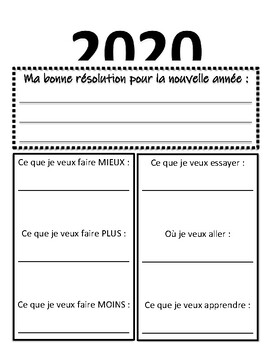 2020 French Resolutions & Goals Worksheet